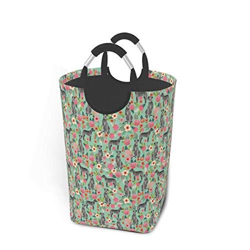 Wäschekorb mit irischem Wolfshund und Blumenmuster, groß, faltbar, für schmutzige Kleidung, Spielzeug, Bücher